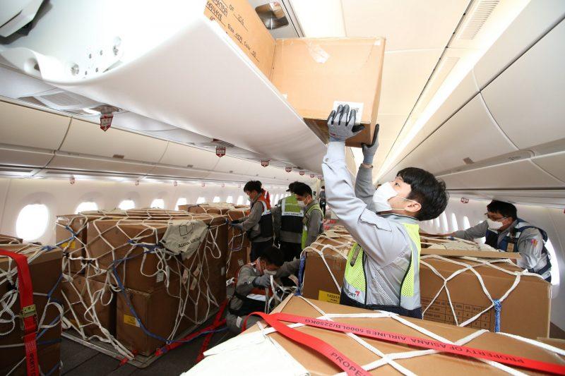 Temporärer Frachtraum im A350 von Asiana Airlines (Foto: Airbus).
