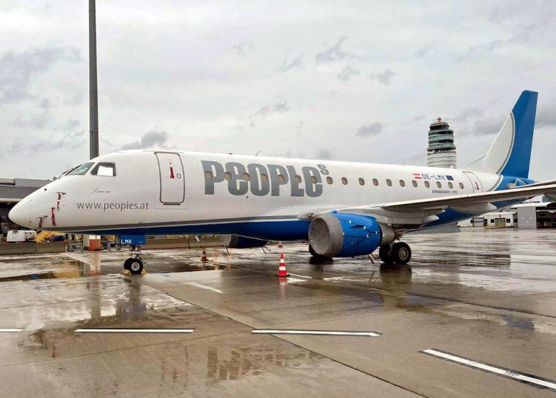 Embraer 170 von Peoples am Flughafen Wien (Foto: Christian Ambros).
